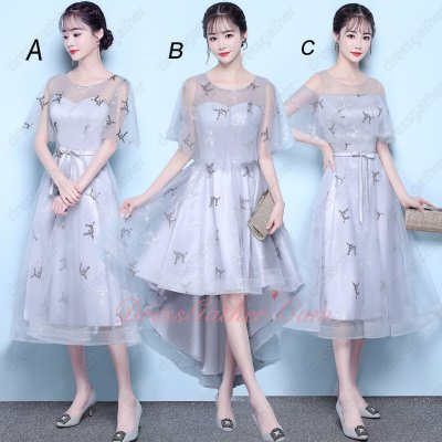 2019 Popular Color Silver Series Short Skirt Dama Dress With Shawl