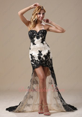 Black Lacework Decorated Champagne Hi-Lo Slim Pageant Dress With Lace Train