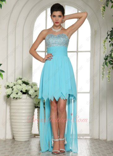 Latest Aqua Blue Beaded Bodice Asymmetrical Hemline Graduation Dress Watteau Train