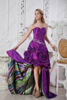 Exclusive Purple Radial Beaded High-Low Puckered Rite Dress Colorized Printed Inside