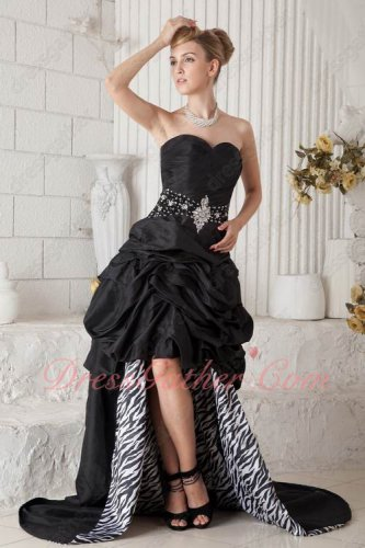 Exquisite High Low Cascade Black Celebrity Prom Dress Zebra Fabric Inside