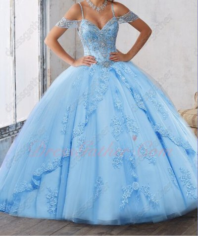Dual Straps Beaded Bodice Gathered Tulle Appliques Skirt Sweep Train Quinceanera Gowns