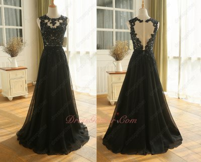 Nude Tulle Bodice Beaded Appliques Black Chiffon Skirt Formal Party Gowns Decent