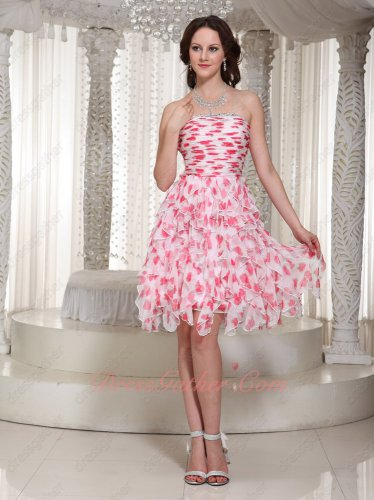 Strawberry Motifs Floret Printed Chiffon Ruffles Skirt Cute Girlish Graduation Dress