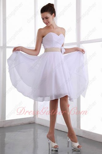 White Chiffon Skirt With Champagne Belt Short Dama Event Dress Cheap Under 70