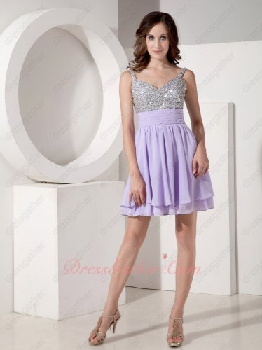 Spaghetti Straps Lilac Chiffon Full Beading/Rhinestone Little Skirt Prom Dress