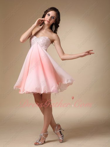 Fading Blush Pink Gradient Fabric Empire Beautiful Unique Gathering Party Dress