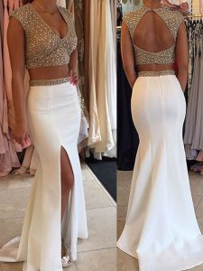 V Neck Spakle Beading Nude Bodice Keyhole Back Two Pieces Slit Skirt White Prom Gown