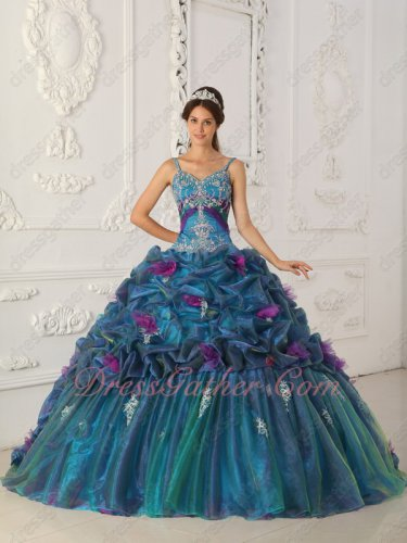 Designer Spaghetti Straps Teal Duotone/Bicolourable Quince Gown Handmade Flowers