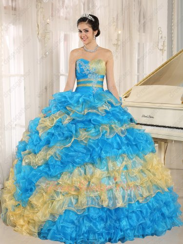 Fashion Cakes Skirt Azure Sky Blue and Gold Oblique Layers Quinceanera Ball Gown