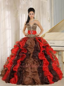 Cyclic Brown/Red/Black Mixed Dense Ruffles Quince Evening Gown With Leopard