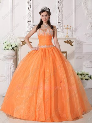 Simple Orange Organza Quinceanera Party From Dress Factory Directly Without Middleman