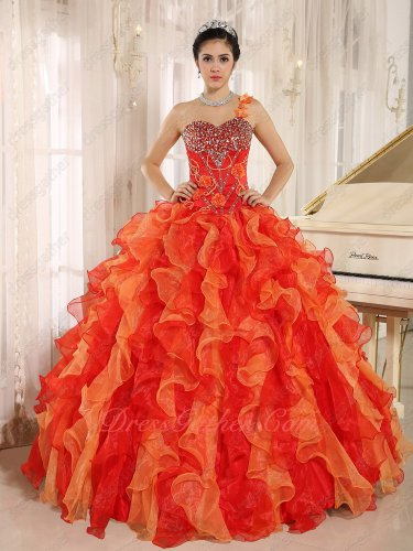 Mingled Orange and Red Thick Ruffles Military Events Ball Gown Eligible Women