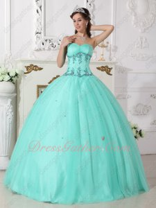 Best Seller Nymphish/Girlish Apple Green Tulle Quinceanera Ball Gown All Seasons