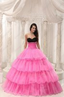 Separated Black Joint Bust/Hot Rose Pink 4 Layers Cakes Prom Ball Gown For Quince