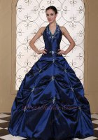 Halter Top Navy Blue Taffeta Silver Embroidery Featured Quinceanera Gowns With Slip