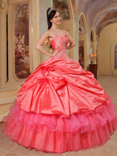 Watermelon Flat Taffeta Coverage Half Organza Layers Quinceanera Ball Gown