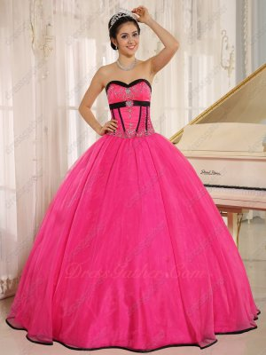 Fuchsia Organza Current Cheap Qunceanera Court Gown With Black Bordure/Overlap Edge