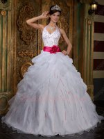 Halter Top Beading Stripes Princess Girl Ball Gown White Organza With Hot Pink Belt
