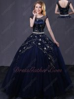 Glaring Navy Blue Scoop Stage Performance Prom Ball Gown Night Sky Stars Inspiration