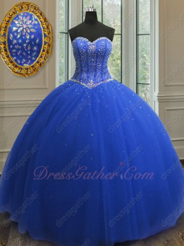 Royal Blue Puffy Quinceanera Ball Gown V-Shaped Seam Wasitline With Stripes Bodice