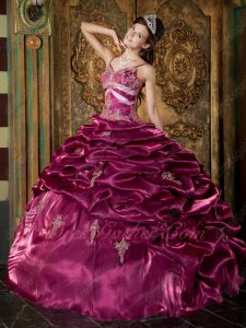 Spaghetti Straps Shiny Mauve Purple Puffy Quinceanera Girls Ball Gown Old