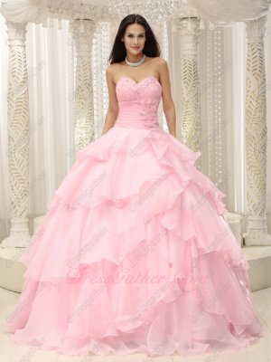 Crossed Overlapping/Overlay Baby Pink Layers Girl Cute Quince Court Gown Like Cake