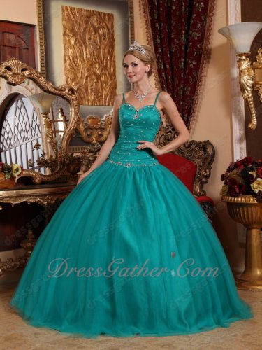 Mature Deep Teal Mesh Quince Attire Ball Gown Spaghetti Straps Dropped Waist