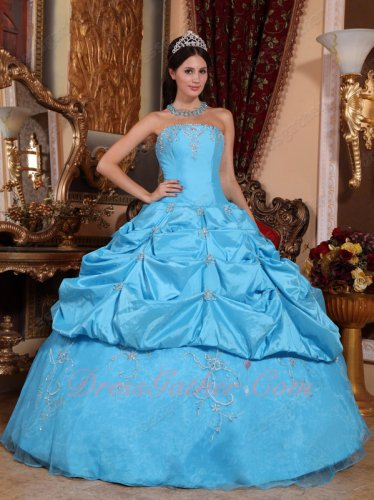 Online Store Aqua Blue Taffeta and Organza Half Bubble Quice Ball Gown With Embroidery