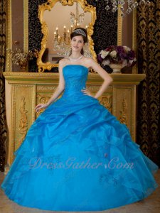 Strapless Azure Blue Embroidery Quinceanera Ball Gown Graduation Ceremony