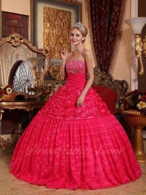 Fuchsia Half Rolled Flowers Fabric Half Flat Lace Quince Military Ball Gown Boutique