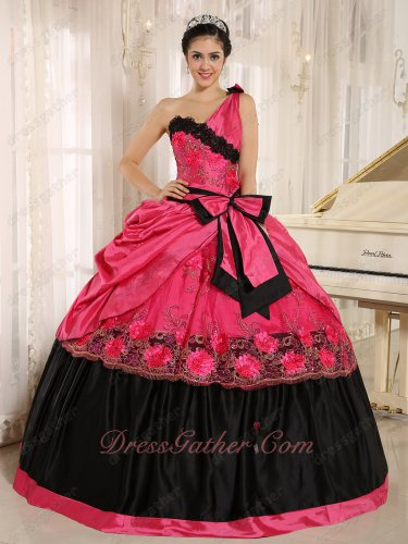 Coral Taffeta/Black One Shoulder Sweetheart Quinceanera Ball Gown Maiden