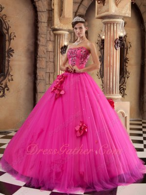 Refund Guarantee Trimed A-line Skirt Fuchsia Quinceanera Dress 2019 Summer Wear