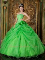 Handmade Flowers Spring Green Very Puffy Sweet 16 Quince Ball Gown Runway Pageant