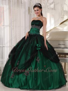 Ready Sale Quinceanera Military Ball Gown Dark Hunter Green Covered With Black Tulle