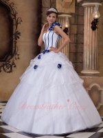 Royal Blue Flowers Single Shoulder Pure White Quinceanera Ball Gown Princess Slender