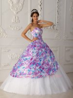 White Flat Mesh/Tulle Princess Ball Gown Printed Fabric Overlay Decorate