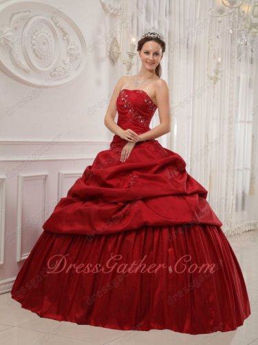 Simple Wine Red Taffeta Puffy Skirt Quinceanera Dress Customized Alteration Free