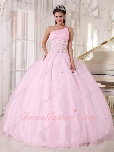 One Shoulder Baby Pink Organza Corset Back Quinceanera Gowns Dress Princess Like
