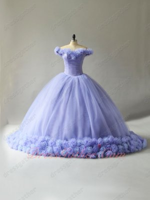 Lavender Tulle Handmade 3D Flower Cathedral Train Fairyland Quinceanera Ball Gown