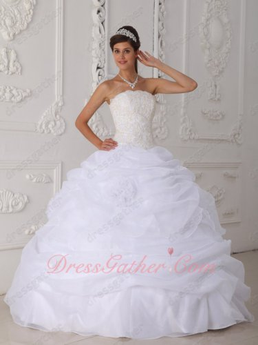 White Bubble Organza Floor Length Quinceanera Dress Strapless Bodice Cover Ivory Lace