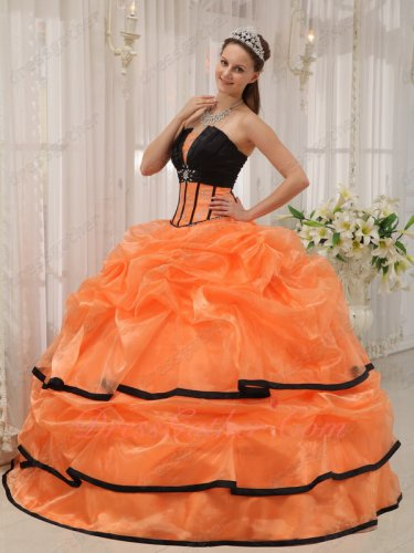 Mature Strapless Cake Quinceanera Dress Orange Bubble With Black Bordure