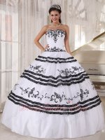 Typical White With Black Embroidery Quinceanera Party Dress Ready For Women