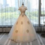 Off Shoulder Horsehair Hem Sparkle Applique Beige Vestido De Prom Ball Gown Performance