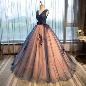 Navy Blue and Blush Lining Floor Length Puffy Flowing Quinceanera Ball Gown Princess