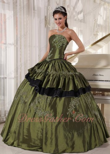 Sweetheart Plain Bodice Olive Green Traditional Quinceanera Dress Made By Taffeta
