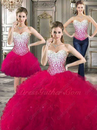 White Basque Fuchsia Tulle Skirt Detachable With Short Skirt Quinceanera Gown Halloween