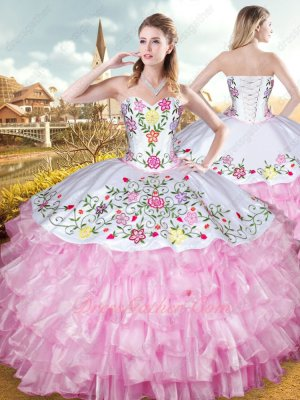 Layers Pink Ruffles White Embroidery Upper Part Her Court Quinceanera Gown Western