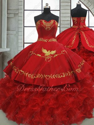 Gold Eagle Embroidery Decorate Red Western Quince Gown Organza Wavy Ruffles Hemline
