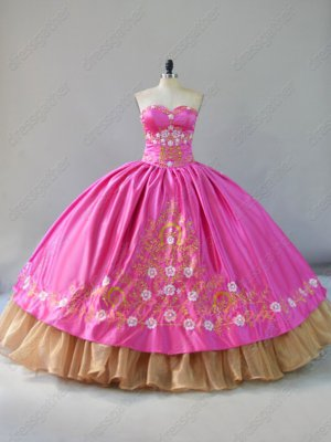 Fuchsia Blouse/Overlay Gold Embroidery Organza Hemline Western Quince Dress Gowns